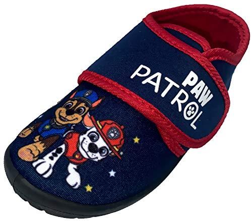 Jungen Hausschuhe kompatibel zu PAW Patrol Dunkelblau Jungenschuhe Slipper Pantoffeln Kinderschuhe Klettverschluss für Kita Schule Gr.30/31