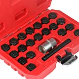 MR CARTOOL 22pcs Anti-Theft Screws Removal and Install Socket Sleeve Set Group for BMW Wheel Lock Lugnut Anti-Theft Screw Lug Nut Removal Key Socket Set for BMW