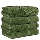 Towel Bazaar Premium Turkish Cotton Super Soft and Absorbent Towels (4-Piece Bath Towels, Moss Green)