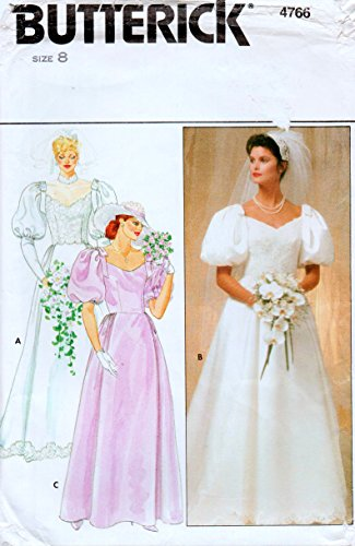 Butterick 4766 Vintage Wedding Gown and Brides Maids Dress Sewing Pattern, Detachable Train Check listings for Size