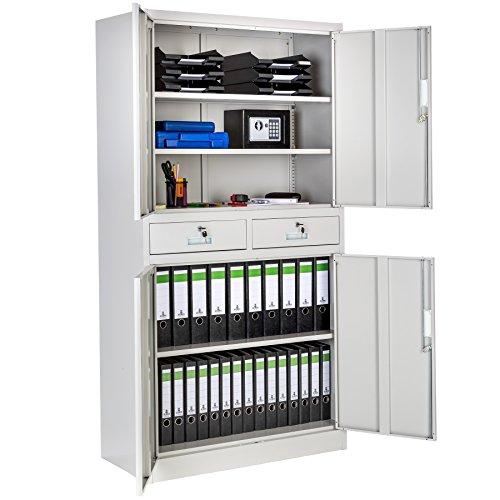 TecTake Armario archivador Oficina metálico 4 Puertas