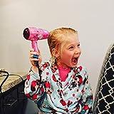 Deogra 1000 Watt Föhn für Kinder Süß Mini Haartrockner Klappbar Dual Spannung Fön mit Diffusor für Locken, Tragbar Fön für Reise Rosa - 7
