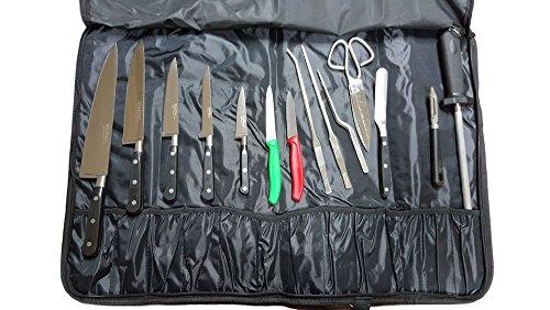 Walter Pop-Up Couverture Gamme Premium, cuisiniers avec Couteaux et ustensiles de Cuisine Professionnelle, Acier Inoxydable, Noir, 51 x 19 x 7 cm
