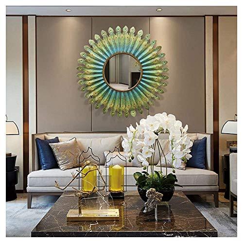 ZGYZ Form Wandspiegel, 3D Metall Phoenix Wandspiegel, Schlafzimmer, Flur, Badezimmer Wandspiegel, Grün, 80x80cm