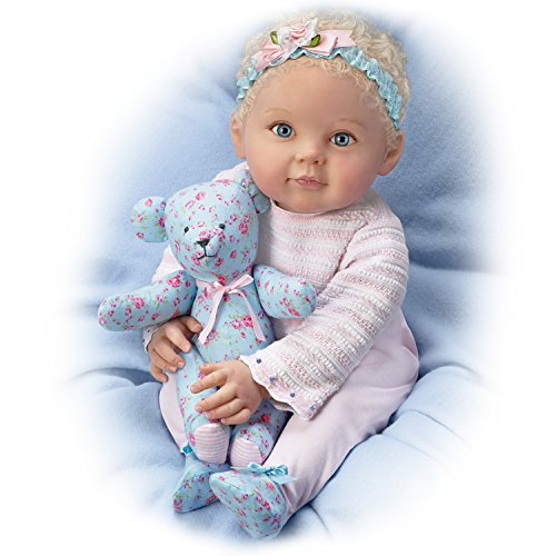The Ashton-Drake Galleries Lauren and Teddy with Hand-Rooted Hair So Truly Real Lifelike & Realistic Weighted Newborn Baby Doll 18-inches