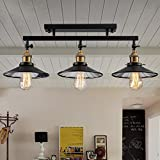 Vampsky 3Lights Fashion Vintage Loft DIY Black Iron Ceiling Light Home Deco Mirror Glass Lampshade Metal Semi Flush Mount Ceiling Lamp 3*E27 Edison Bulb Dining Room Ceiling Lamp Chandelier