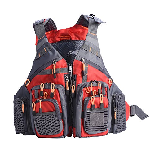 SANON Float Vest, Adults Lifesaving Vest Life Float Jacket with Whistle Swimming Fishing Drift Suit for Boating Kayak Canoeing Adult Women Men(Red)