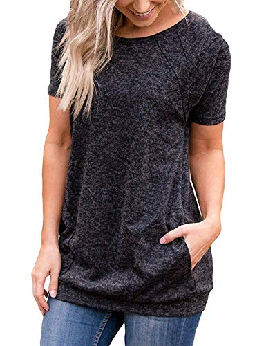 iClosam T-Shirt Femme à Manches Courtes Grande Taille Été Ample Casual Tee Shirt Top, Gris Foncé, L