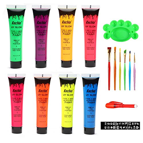 Halloween UV Glow Blacklight Face and Body Paint -8 Color 1OZ - Day or...