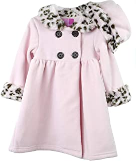 Good Lad Newborn/Infant Girls Pink Double Breasted Fleece Coat with Faux Animal Fur on Collar and Cuffs, and Matching Hat