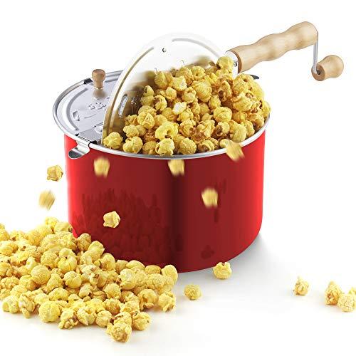 Cook N Home Popcorn-Popcorn-Popper, Aluminium, für Herde, 6 Viertel, Rot