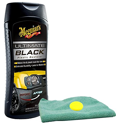 Meguiar's Ultimate Black Plastic Restorer (12 oz) Bundle with Microfiber Cloth & Foam Pad (3 Items)