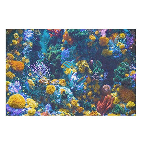 1000pcs Wooden 3D Underwater Fish Jigsaw Puzzles,Intellectual Game Toys Gifts Puzzles -Oceanscape for Family Entertainment white 300pieces