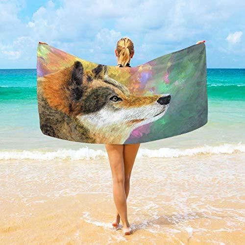 Lfff Toalla de Playa de Calidad Lobo Manta de Playa Grande Toalla de baño Multiusos de Alta absorción 80X130 CM