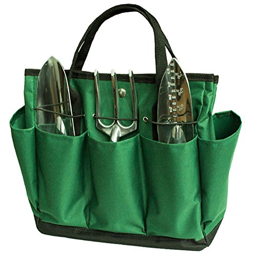 Outflower Sac à outils multifonction en tissu Oxford 600D - Sac à main pour outils de jardin - Sac à outils de jardin en tissu Oxford imperméable - Vert
