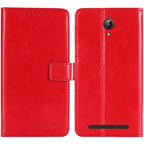 TienJueShi Rot Premium Retro Business Flip Book Stand Brief Leder Tasche Schutz Hulle Handy Hülle Abdeckung Wallet Cover Etui Skin Fur TP-Link Neffos Y5s 5 inch