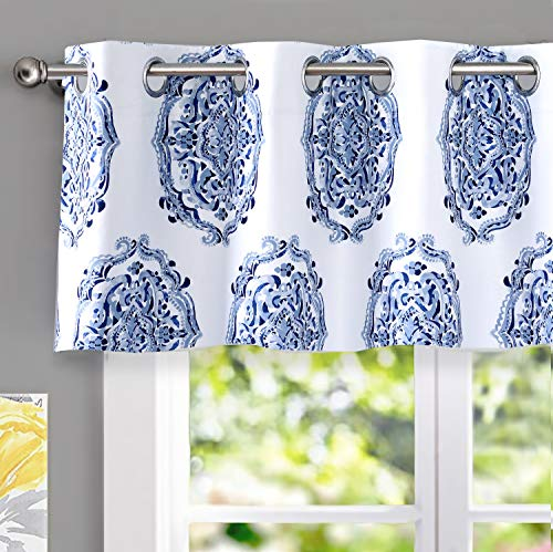 DriftAway Emily Medallion Floral Pattern Energy Saving Thermal Insulated Blackout Window Curtain Valance Grommet 2 Layers Pair 52 Inch by 18 Inch Navy Blue