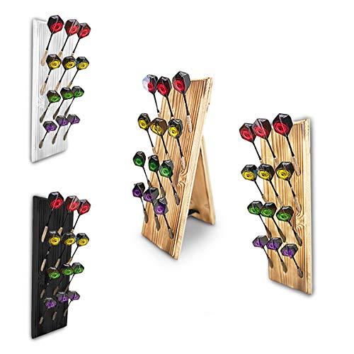 Dart Holz Dartständer für 12 Dartpfeile | Clevere Darts Aufbewahrung Halter Made in Germany | Standfunktion oder Wandhalterung an die Dartscheibe & Dartboard | | Steeldarts Softpfeile Farbe Schwarz