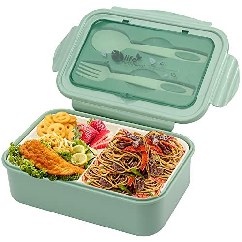 Fiambrera Bento con tenedor y cuchara, para microondas y lavavajillas, para la escuela, trabajo, picnic, viajes