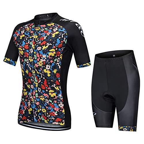 Verano Clásico Ciclismo Jersey con Babero Shorts Traje Para Mujer Bicicleta Ropa Set (Rojo, M)