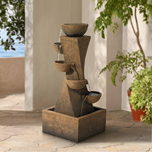 Lamps Plus Cascading Bowls Rustic Outdoor Floor Water Fountain with Light LED 27 1/2' High for Yard Garden Patio Deck Home - John Timberland