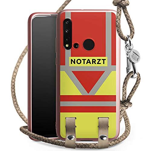 DeinDesign Carry Case kompatibel mit Huawei P20 Lite 2019 Handykette rosé Gold Handyhülle zum Umhängen Notarzt Rettungssanitäter Rettungsdienst