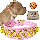 """teemerryca Pink Leather Gold Spiked Studded Dog Collar for Girl Female Puppy Small Medium Large Pets,Pit Bulls Bulldog, Keep Dog Safe from Grabbing by Huge Dogs, XL 17.7""""-20.5"""""""