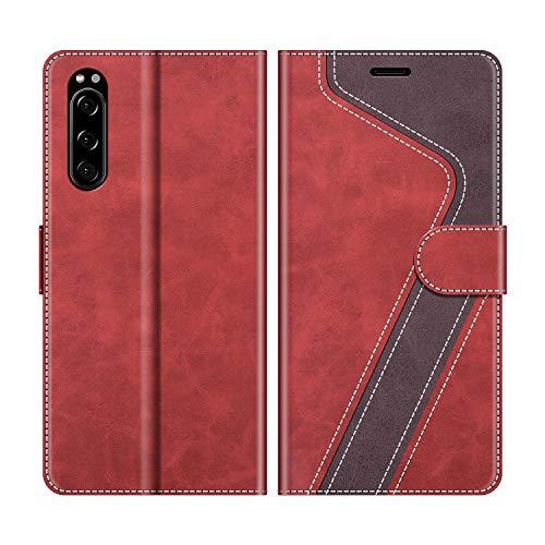 MOBESV Handyhülle für Sony Xperia 5 Hülle Leder, Sony Xperia 5 Klapphülle Handytasche Case für Sony Xperia 5 Handy Hüllen, Modisch Rot