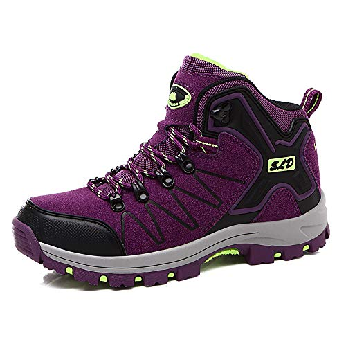 QLMXZY Women's Hiking Boots Trekking Shoes Anti-Collision Mid Heel Non-Slip Climbing Sneakers (36 M EU/5.5 B(M) US, Purple)