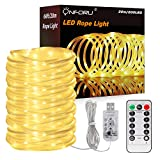 Onforu 66ft 200 LED Rope Lights, 8 Modes Dimmable String Lights, USB 5V Waterproof Fairy Lights, for Outdoor Garden Christmas Tree Wedding Decor, 3000K Warm White