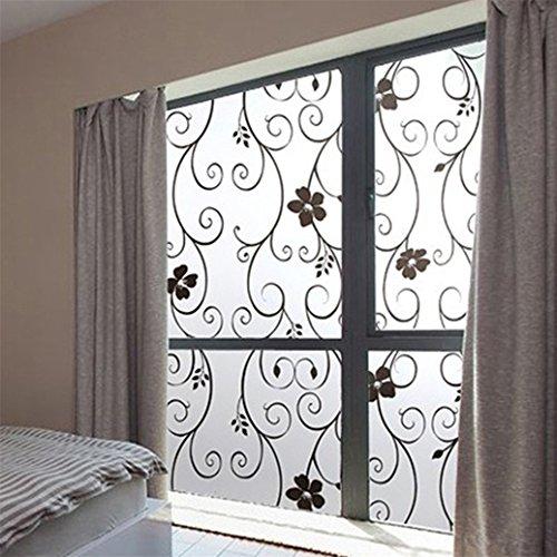Bodhi2000Fensterbeklebung mit Blumen für Milchglas für mehr Privatsphäre im Badezimmer, 45 x 100 cm, PVC, schwarz, Einheitsgröße