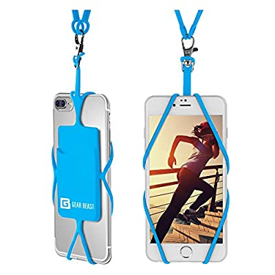 Gear Beast Universal Cell Phone Lanyard Compatible with iPhone, Galaxy & Most Smartphones Includes Phone Case Holder with Card Pocket, Silicone Neck Strap