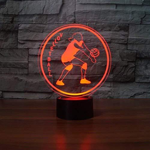 Tafellamp voor geschenken, kerstgeschenken, creatief kerstcadeau voor volleybal, 3D-model, roken, nachtlampje, 7 kleurverandering.