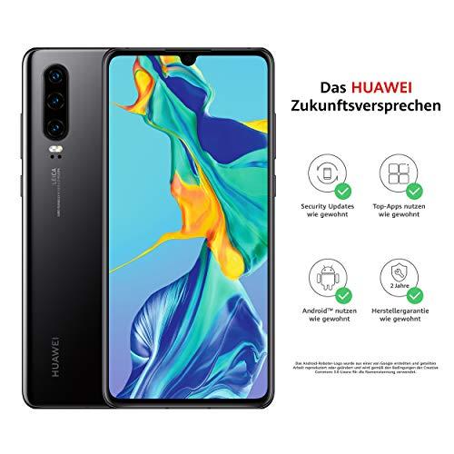 HUAWEI P30 Dual-SIM Smartphone Bundle (6,47 Zoll, 128 GB ROM, 6 GB RAM, Android 9.0) Schwarz + USB-Adapter [Exklusiv bei Amazon] - DE Version