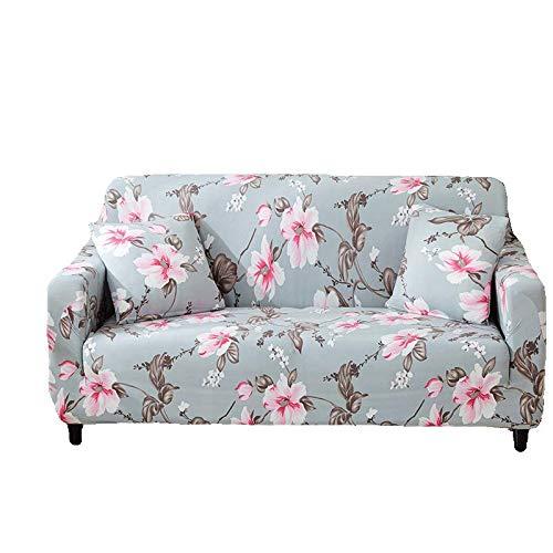 PPOS patrón de Hojas Fundas para sofá Fundas elásticas para sofá con Todo Incluido para sofá en Forma de L Silla de Dos plazas Funda para sofá Estilo L A2 3 Asientos 190-230cm-1pc