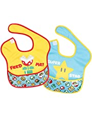 Bumkins Nintendo Super Mario SuperBib, Baby Bib, Waterproof, Washable, Stain and Odor Resistant, 6-24 Months (Pack of 2)