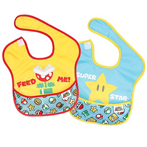 Price comparison product image Bumkins Nintendo Super Mario SuperBib,  Baby Bib,  Waterproof,  Washable,  Stain and Odor Resistant