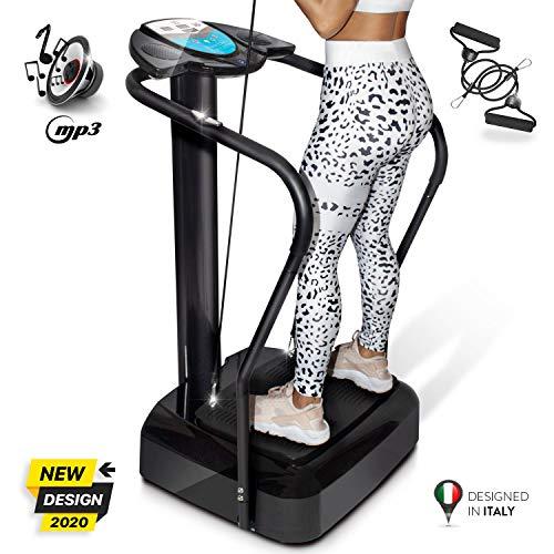 YM Plataforma Vibratoria de Fitness, tonificación y adelgazamiento reafirmante, intensidad ajustable, 10 PROGRAMS + Auto, pantalla, cardio, elásticos de fitness