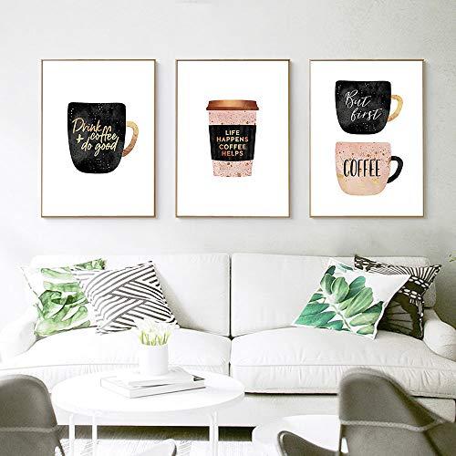 MMLFY 3 opeenvolgende schilderijen 30x40cm3pcs koffiekopjes canvas poster muurkunst parfum met gouden brief afdrukken decoratie afbeelding huis decoratie ingelijst