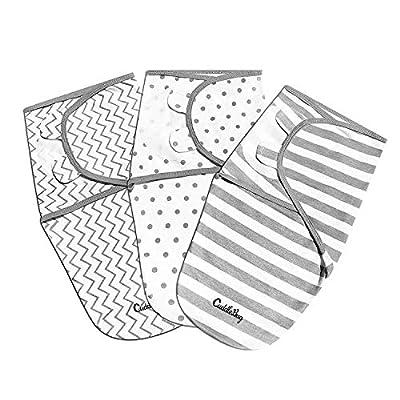 Cuddlebug Adjustable Baby Swaddle Blanket & Wrap (Spots & Stripes), Pack of 3 (Small/Medium 0-3 Months Old) from Cuddlebug