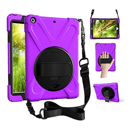 ZenRich iPad Air 3 Case 2019, iPad Pro 10.5 Case 2017,360 Rotating Kickstand Hand Strap & Shoulder Belt Shockproof Heavy Duty Rugged Case for iPad 10.5 inch Tablet 2017/2019 Release-Purple
