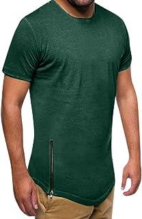 Ventas de Camiseta de músculo de Verano Yvelands Handsome Men Casual Slim Fit de Manga Corta con Cremallera Top Blusa