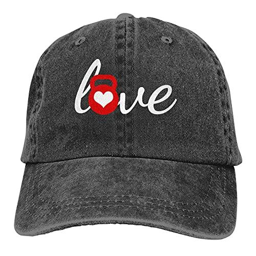 Love Kettlebell Dad Sombreros Casquette Denim Algodón Gorra de béisbol Sombrero para mujeres Hombres Béisbol negro Sombreros de vaquero Gorras de mezclilla unisex ajustables Deporte Viajes al aire