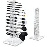 byAlegory Acrylic Makeup Brush Organizer & Drying Stand 12 Space Storage 3 Hole Sizes Slim To Large Handle Beauty Brush - Clear
