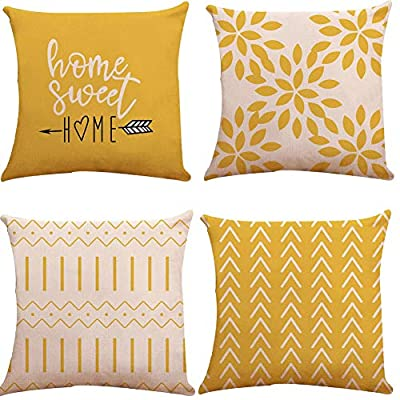 YC-KITCHEN Pillow Covers 18x18 Set of 4, Modern Sofa Throw Pillow Cover, Decorative Outdoor Linen Fabric Pillow Case for Couch Bed Car 45x45cm (Yellow, 18x18,Set of 4)