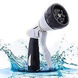 Garden Hose Nozzle, Heavy Duty Metal Water Hose Sprayer, High Pressure Hose Spray Nozzle 7 Features Spray Patterns, Water Hose Nozzle, Hand Watering Nozzle for Car Pet Washing