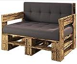 sunnypillow palettenmöbel Europaletten Indoor und Outdoor Lounge gartenmöbel Holz gartenmöbel Set Lounge möbel Terrasse Balkon loft Stil Paletten Palette geflammte Sofa 120 x 80 cm Höhe : 30 cm
