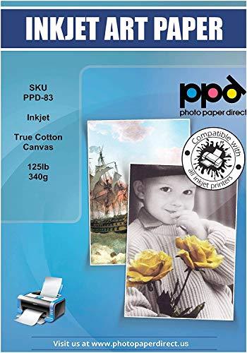 PPD 10 Blatt x A4 Inkjet bedruckbares 340 g/m2 Canvas Fotopapier Weiß Matt Zur Reproduktion Von Kunstdrucken - Tolle Optik Durch 100% Baumwoll-Basis Und Spezialbeschichtung PPD-83-10