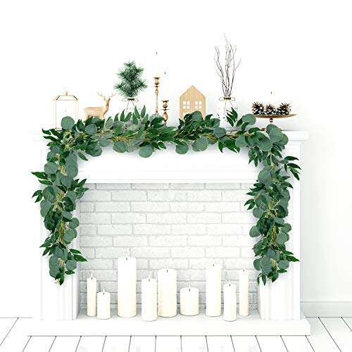 Whaline 12ft Eucalyptus and Willow Garland, Artificial Blended Faux Silver Dollar Hanging Leaves Vines for Home Garden Wall Doorway Outdoor Decoration, Birthday Wedding Party Decor (2 Pieces)