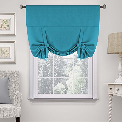 H.Versailtex Solid Blackout Energy Efficient Tie Up Shades Blackout Curtain -Rod Pocket Panel for Bedroom, Turquoise Blue, 42W x 63L (1 Panel)